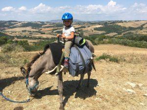 wandelen met ezel in Italië